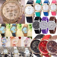 Fashion Geneva Luxury Leather Analog Quartz DRESS SPORT Women Wrist Watch Gift L