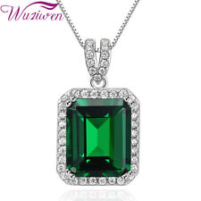 6Ct Green Emerald Sapphire White Topaz Sterling Silver Pendant Chain Necklace
