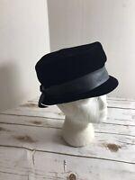 Christine Original Vintage Ladies Black Velvet Hat 22.5 Union Label