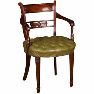 Original Exclusive Chesterfield Armchair Green Quilted Leather, Frame Mahogany