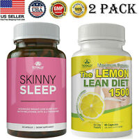 Weight Loss Skinny Sleep Aid Slimming Pills Lemon Lean Diet Caps Fast Fat Burner