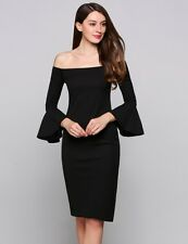 """LIZA""STUNNING LADIES SIZE 14 BLACK OFF THE SHOULDER QUALITY STRETCH PENCIL DRES"