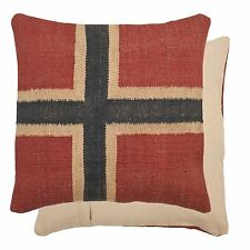 LUXURY WOOL NORWEGIAN NORWAY FLAG MADE IN NETHERLANDS RED CUSHION COVER 50CM