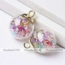 2 Pcs CCB Golden Findings  Resin Rhinestones Glass Ball Pendants Charms 21x16mm