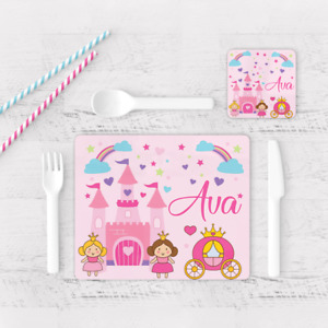 Personalised Princess Castle Girls Kids Children's Table Placemat & Coaster Pink