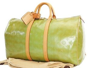 Auth LOUIS VUITTON Mercer Baby Blue (Green) Vernis Leather Duffel Bag #37427