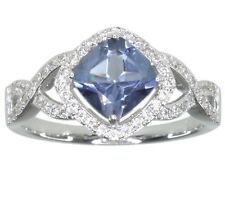Blue Mystic Quartz Gemstone Cushion Sterling Silver Ring size S