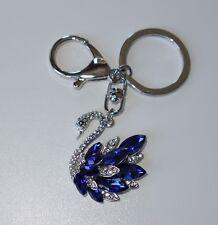 S201 - Schlüsselanhänger - NEU - Schwan Blau Silberfarben Strass Glitzer Girl