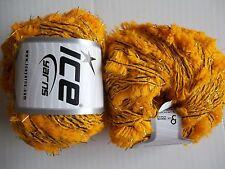 Alpaca Butterfly yarn by Ice Yarns, Yellow/Gold, lot of 2, (77 yds each)