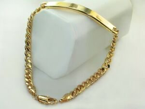 Unisex Slim Classic Tight Curb Link Chain 18k Gold Layered ID Bracelet 5mm x 8""
