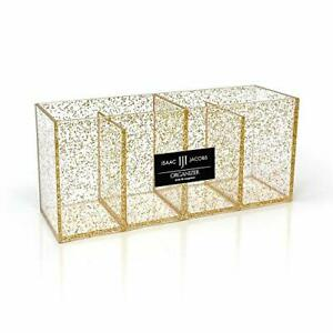Isaac Jacobs 4-Compartment Clear Acrylic Organizer- Makeup Brush Holder- Stor...