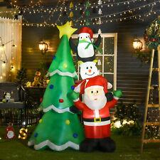 HOMCOM 2.43m Inflatable Christmas Tree & Santa Decoration w/ Flashing LED Lights