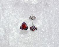 Boucle d'oreilles acier fleur strass blanc ou rouge  acier inox 316L db 1488