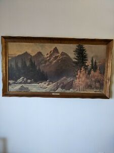 "VINTAGE ART Robert Wood ""Grand Teton"" Framed  Reproduction Print 52 x 28"" SIGNED"