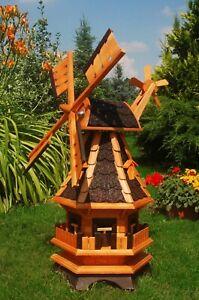 Windmühle Windmühlen kugelgel. mit Beleuchtung Solar  LED 1,0m Garten m. Windrad