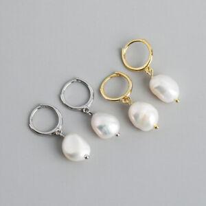 Creolen mit Anhänger Barockperlen echt Silber 925 Damen Ohrringe Ohrhänger
