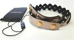 Emporio Armani Leather Belt Size 42 Black/beige NEW Made in Italy 100% Original