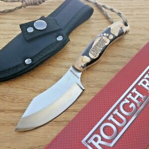 """Rough Ryder Big Foot Hunter Fixed Knife 3.25"""" Stainless Steel Blade Wood Handle"""