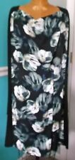 Womens Simply Vera Wang Black L/s Floral Print Dress Sz XL Extra Large