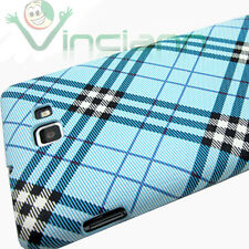 Custodia back cover PLAID AZZURRO per Samsung Galaxy Note 1 N7000 i9220 sottile