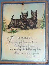 Vintage Wall Hanging Picture 2 Scottie Dogs 'Playmates' Schramm