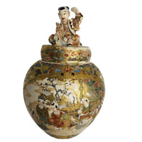 Antique Japanese Satsuma Jar Figural Lid Hand Painted Gilt Porcelain 1890s Meija