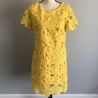 Calvin Klein Floral Lace Overlay Shift Dress Short Sleeve Yellow Size 10