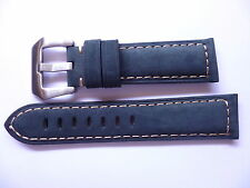 22mm Watch Strap Band with Buckle - 22/20mm Blue Leather Panerai Style