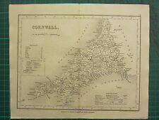 c1835 ANTIQUE COUNTY MAP ~ CORNWALL ~ SCILLY ISLES BODMIN FALMOUTH NEWPORT