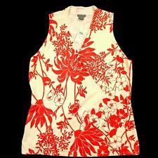 ANN TAYLOR Women's Wrap Sleeveless Blouse Floral Silk Blend V-Neck Top - Large