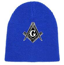 Masonic Hat Winter - Royal Blue Beanie Cap Black & White Standard Masons Symbol