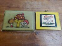 Vintage Mushroom Plaque Lot Of 2 Hand Painted