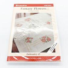 Husqvarna Viking Embroidery Designs Disk #45 Fantasy Flowers Designs Disks Book