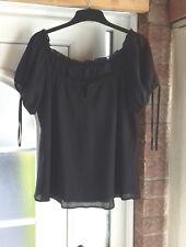 sze18 brand new top quality expensive blk 2 ply v slimming top-feminine & pretty