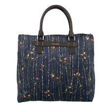 DOLCE & GABBANA Canvas Leather Shopper Bag Tote w. Birds Trees Print Blue 08817