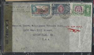 BRITISH HONDURAS  (P2808B) 1945   KGVI  15C+5C+1C CENSOR A/M TO USA