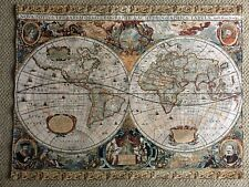 "Antique Map Old World Geographic Map,Fine Art Tapestry 33"" x 44"""
