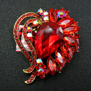New Fashion Betsey Johnson Shiny Red Enamel Rhinestone Flower Brooch Pin