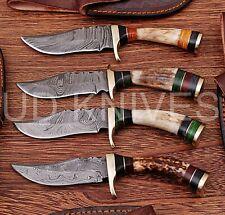 LOT OF 4  6 INCH CUSTOM DAMASCUS STEEL HUNTING KNIFE  STAG ANTLER B7-11725