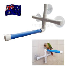 Pet Birds Wall Suction Paw Grinding Stand Shower Perches Parrot Budgie BLUE AU