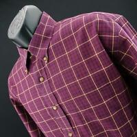 Mens Brooks Brothers Maroon Plaids Original Polo Golf Dress Shirt Size Large L