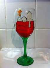 HAND Painted SNOOPY CANE & WOODSTOCK Kennel Large Lavabile Regalo Bicchiere da vino SNUPY