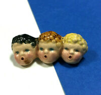 "ODD Vintage ""SINGING BABY HEADS"" Brooch Pin Dolls Porcelain Victorian Style CC4E"