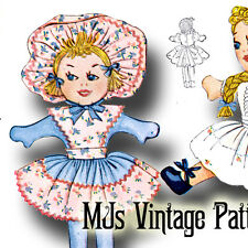 """Vintage Pattern Stuffed Dolls ~ 4 different outfits ~ 17"""" tall"""