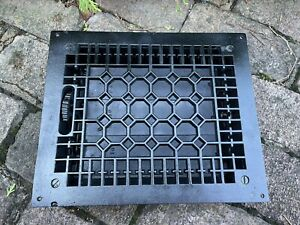 Large Heavy CAST IRON Ornate Louvered Working HEAT Grate Antique Window Vent