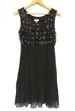 Women's Linea Domani Black Empire Waist Beads & Sequins Pleated Skirt Dress 10