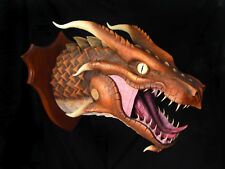 UNIQUE handmade wall mounted fauxidermy copper dragon head trophy art sculpture