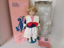 """Vtg Marian Yu Boy Doll Barthalomew Ltd Ed #610 Boxed 17"""" W/Coa Stand"""