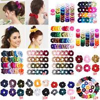 1-50pcs Velvet Elastic Scrunchies Ponytail Holder Fashion Women Hair Rings Rope