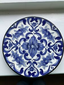 Decorative Blue And White Wall Hanging Plate, Probably Portuguese
